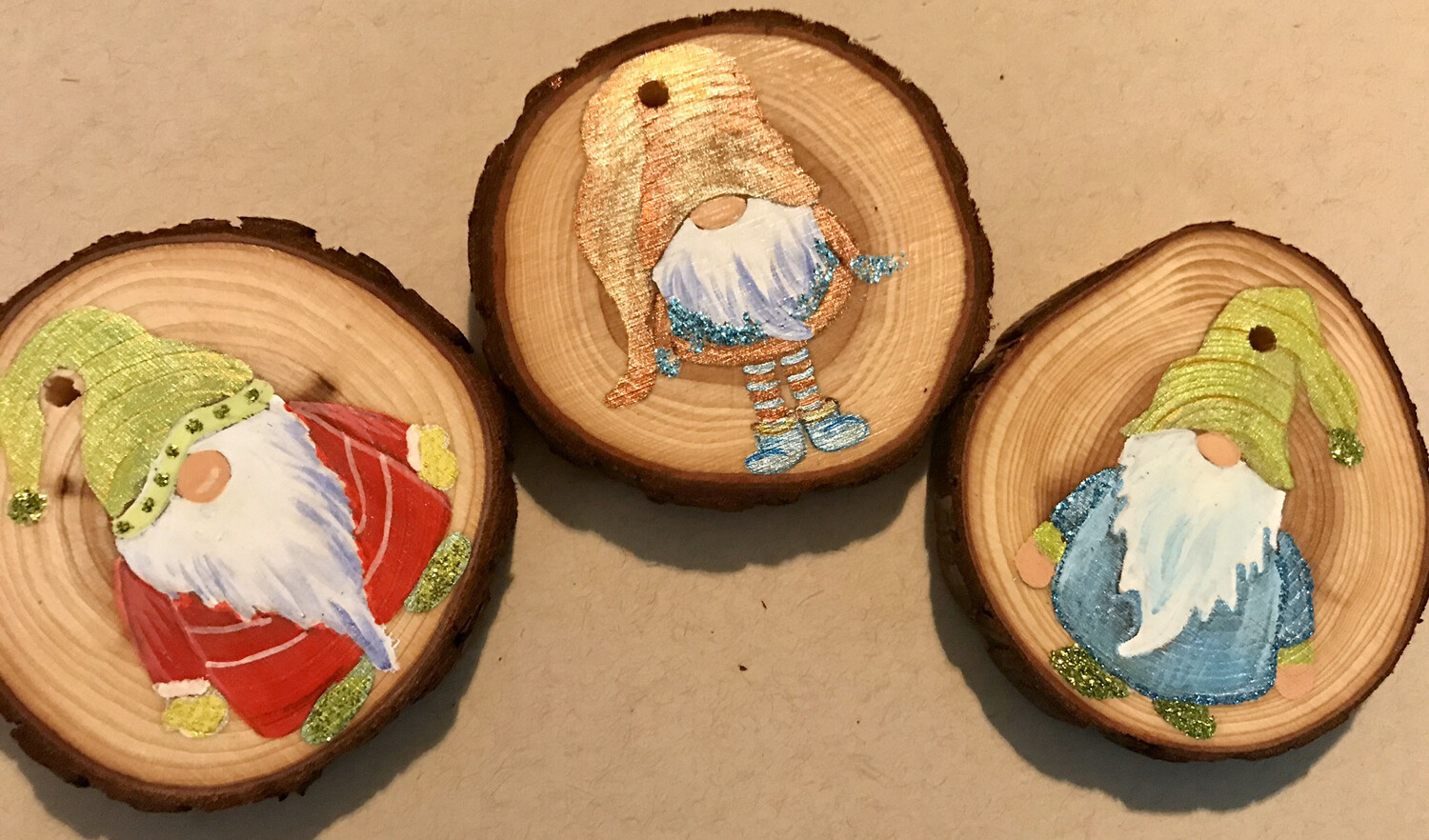 Custom Wood Gnome Ornaments