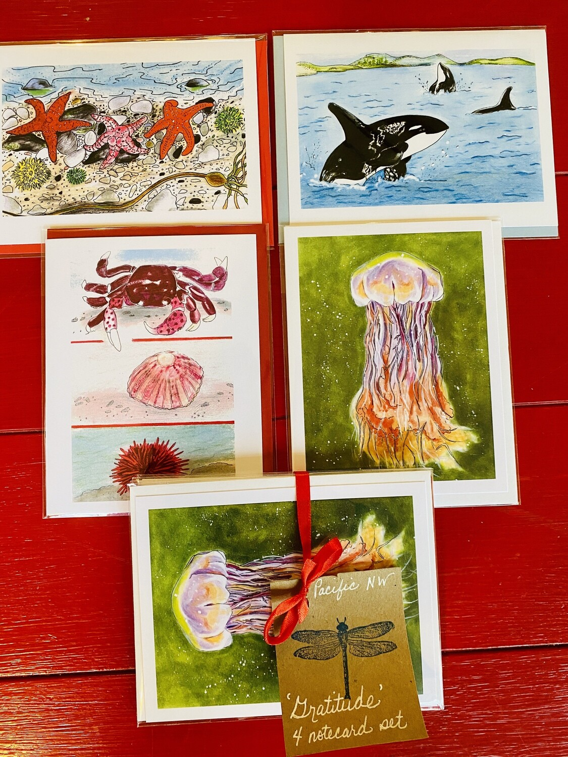 "Salish Sea / Pacific Coast Notecard Collection - Set of four 4.25"" x 5.5"" Asst. notecards"