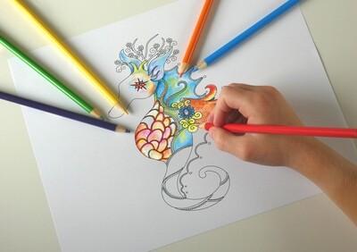 Seahorse Printable Coloring Page- pdf. file