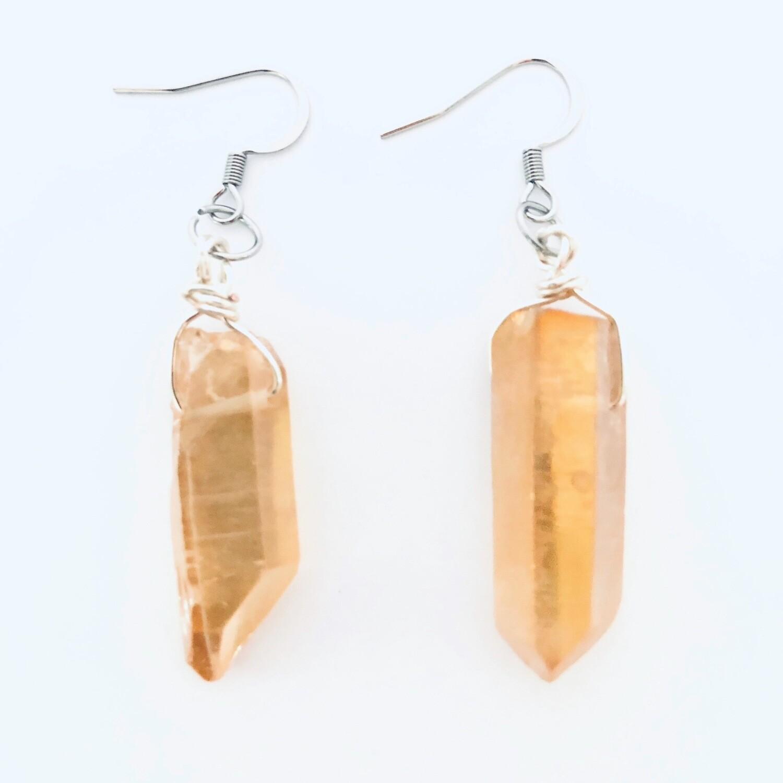 Tangerine Quartz Crystal Earrings