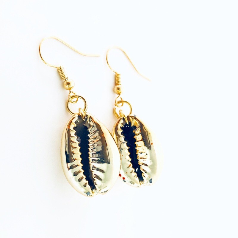 "Yoni"" Collection  Cowrie Shells coated (with gold paint) Earrings"