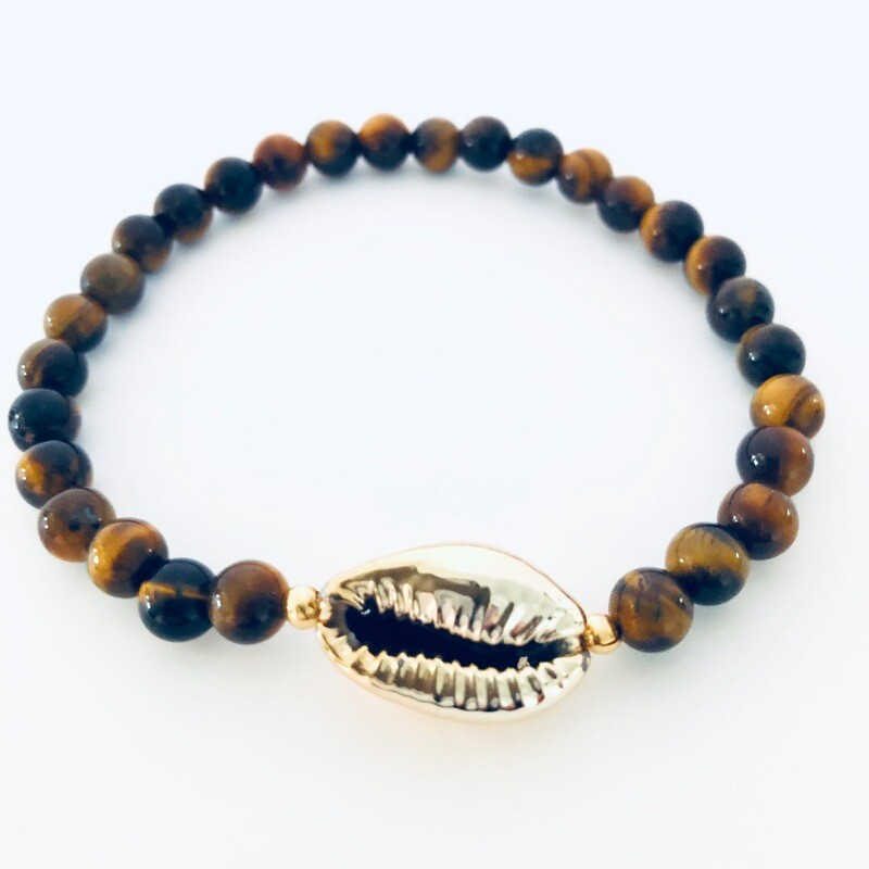 'Yoni' Collection Cowrie Shells coated (with gold paint) & Tiger Eye Beads Bracelet