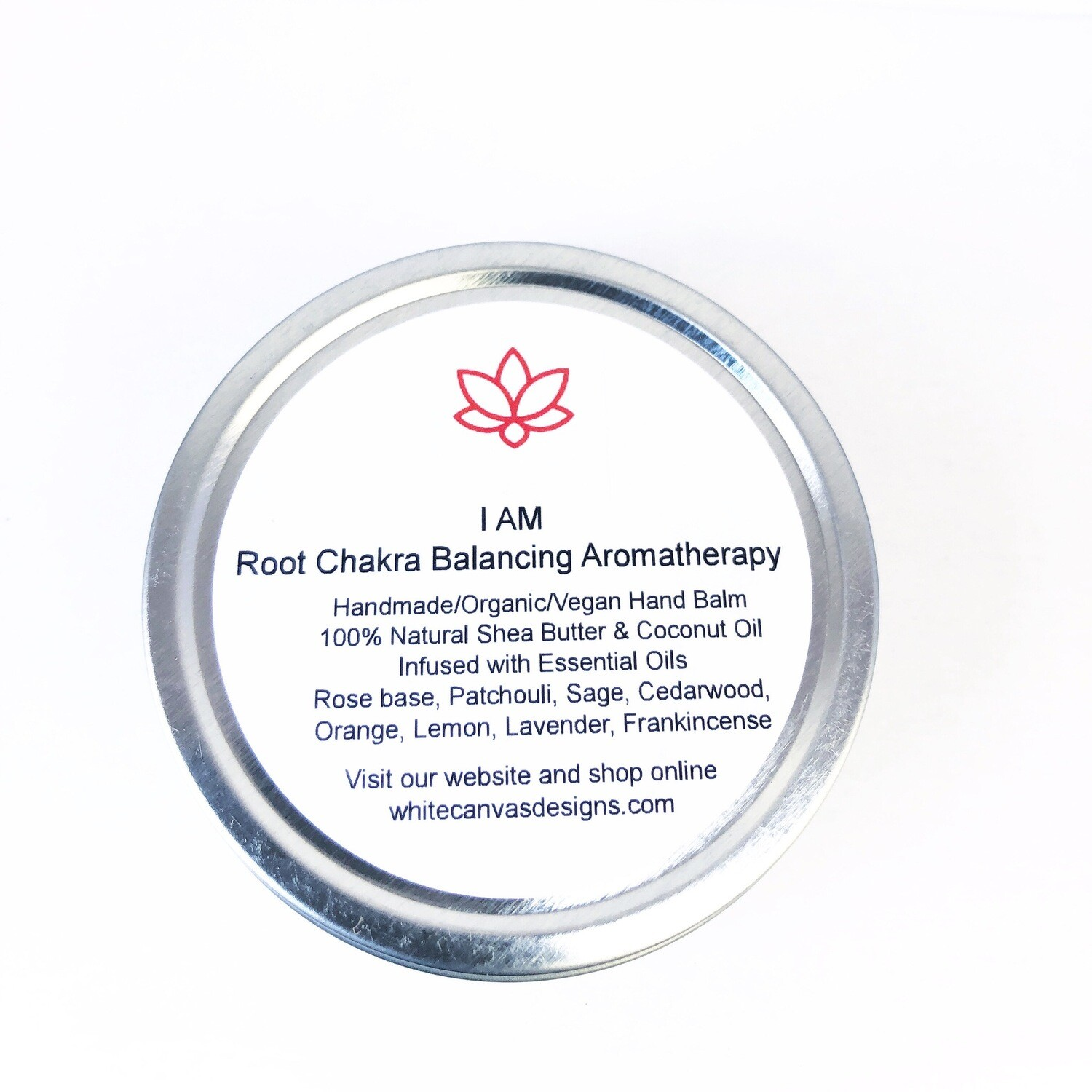 'I AM' Root Chakra Handmade/Organic/Vegan Hand Balm 100% Natural Shea Butter & Coconut Oil Infused with Essential Oils