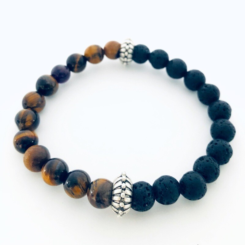Magma' Aspire Wellness Collection  Tiger Eye / Lava Rock Bracelet