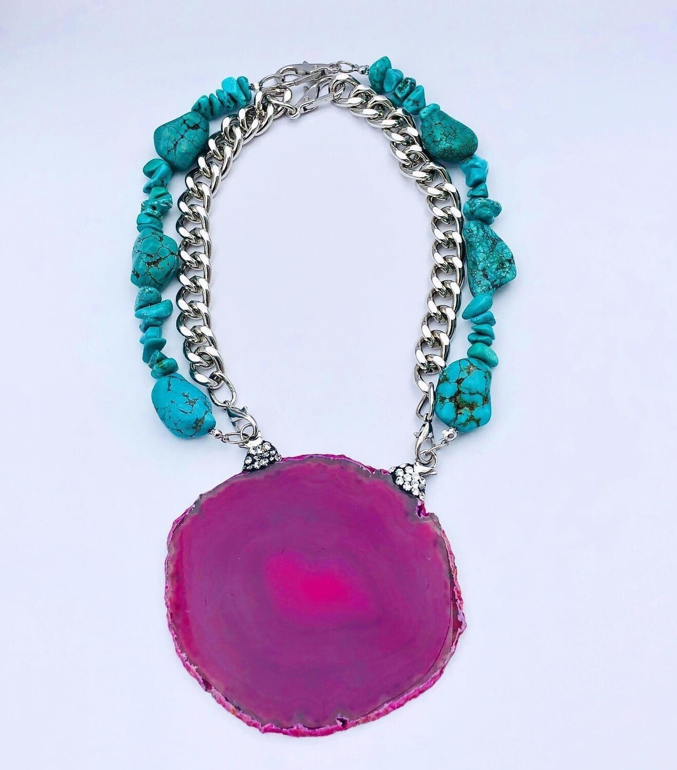Handmade Pink Lace Agate Pendent on interchangeable Turquoise Necklace & Metal Chain.