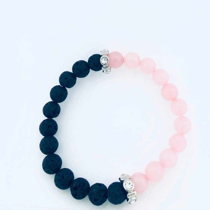 D' Colores Collection All Natural Rose Quartz & Lava rock Bracelet