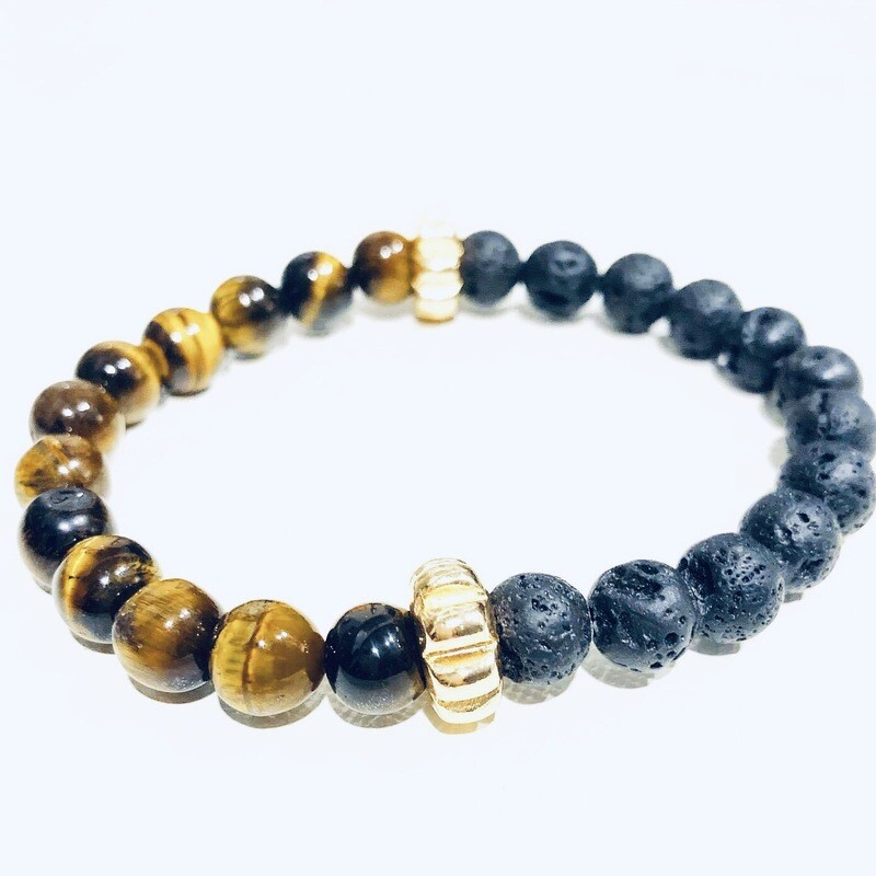 D' Colores Collection All Natural Tiger Eye & Lava rock Bracelet