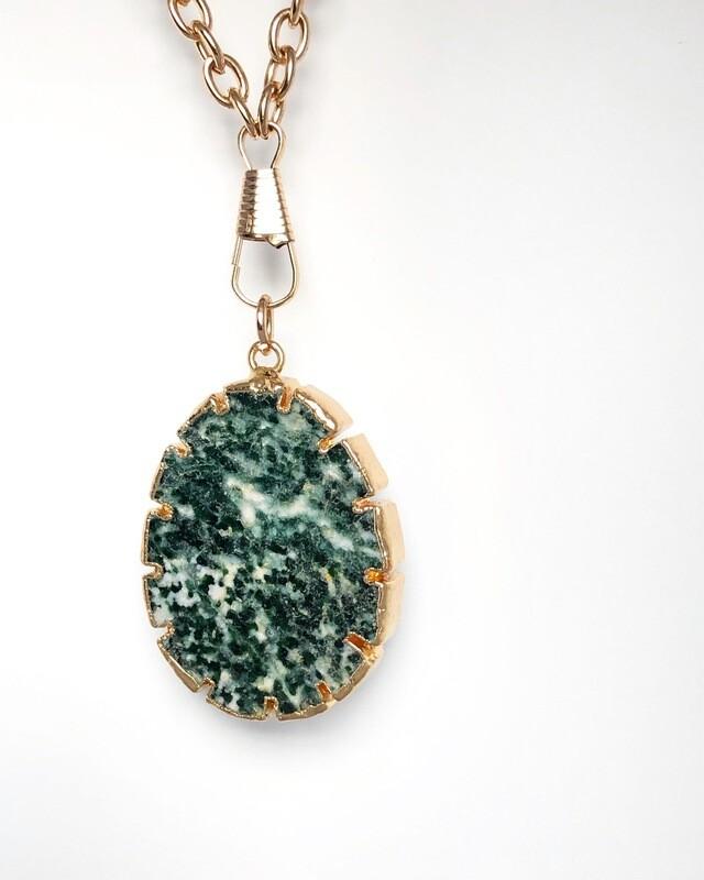 "'""Unlock Your Heart""  Sumer Collection   Green Spot Jasper Necklace."