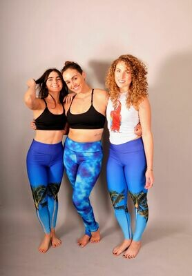 Reversible Palm Tree/Tie-Dye Power Legging