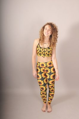 Reversible Sunflower/Tie-Dye Power Leggings