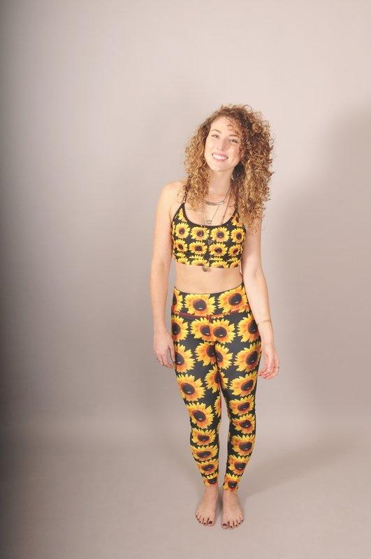 Reversible Sunflower/Tie-Dye Power Leggings