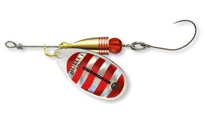 Bullet spinner Silver/Red stripes single hook