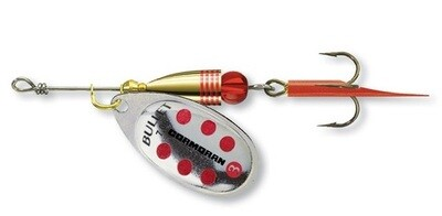 Bullet spinner Silver/Red dots