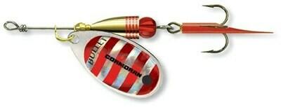 Bullet spinner Silver/Red stripes
