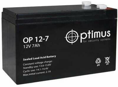 OP 12-7 Аккумуляторная батарея Optimus 12В, 7 А*ч