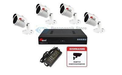 Готовый 1080P комплект уличного ip видеонаблюдения на четыре видеокамеры