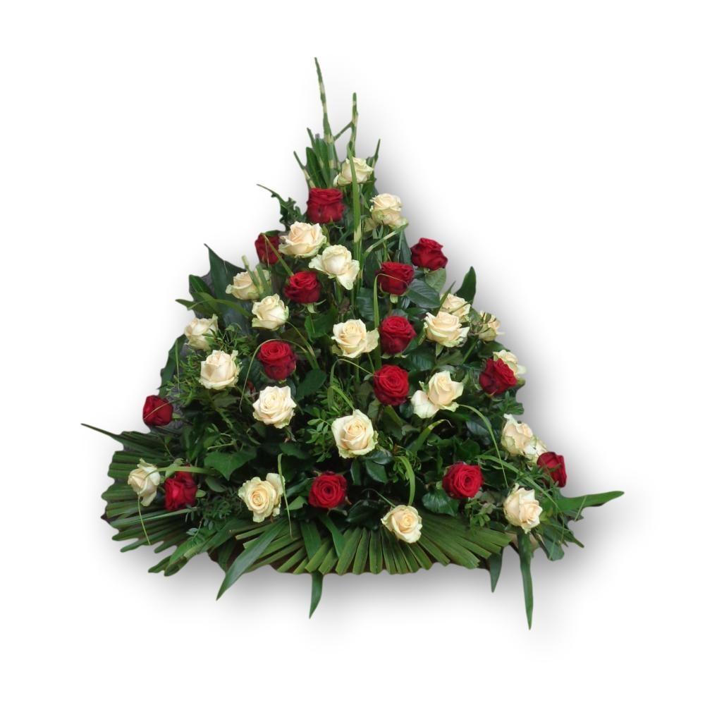 Dreieckgesteck Four Season - Rosen rot/weiss