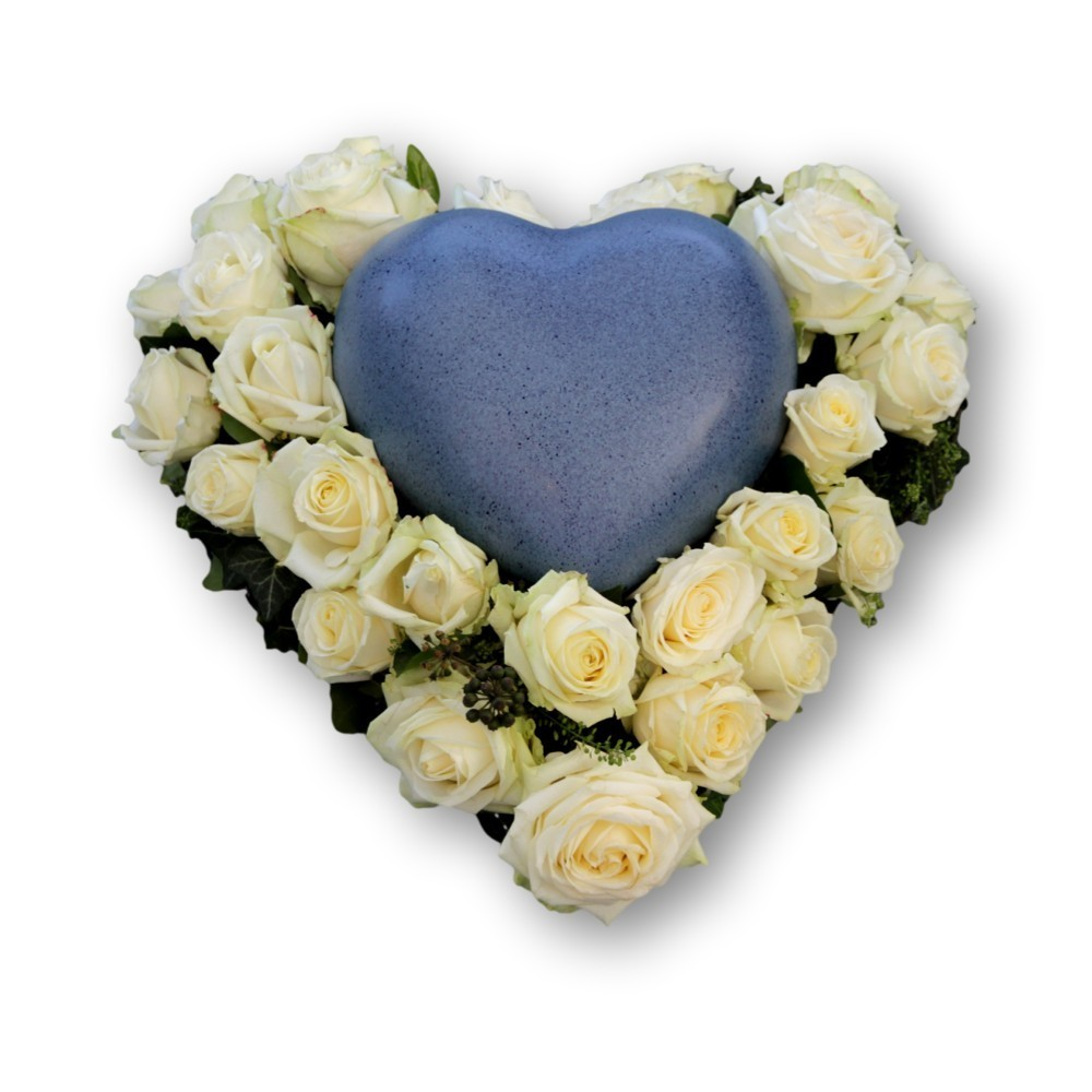 Urnenschmuck  Herz mit Rosen