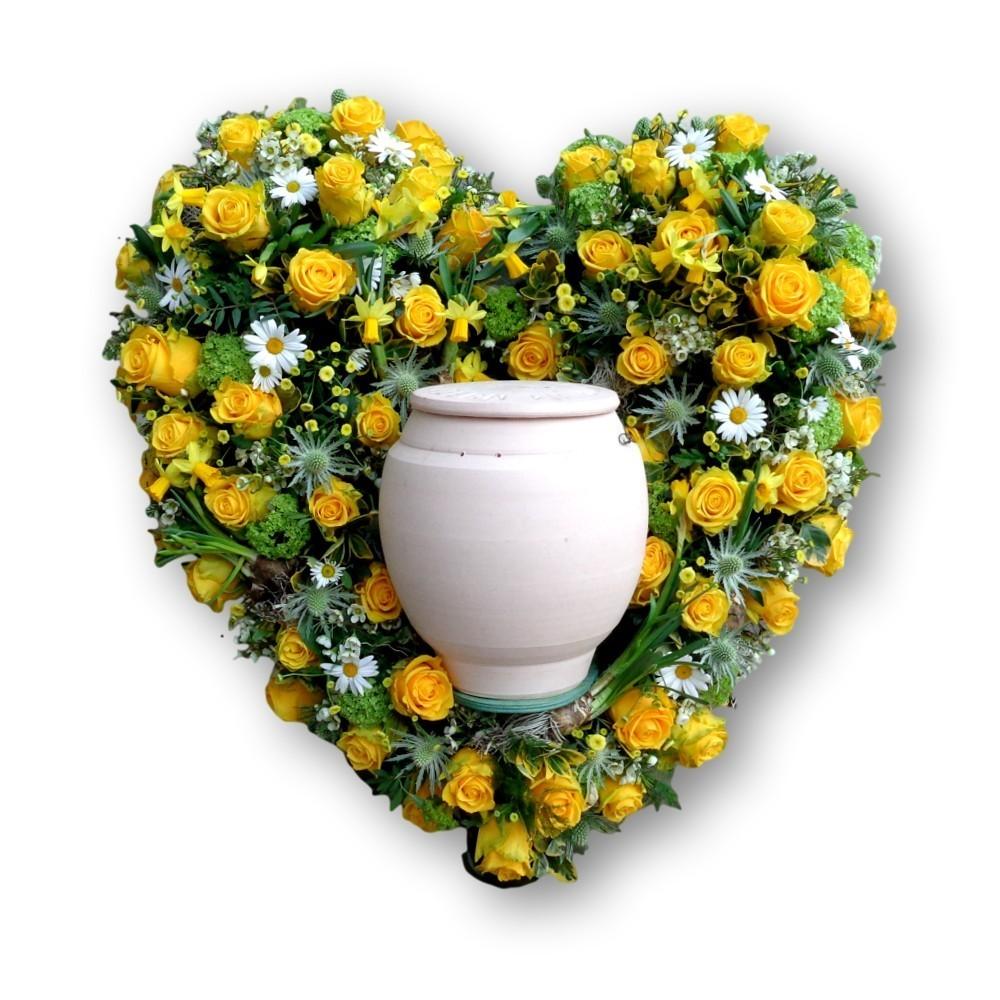 Urnenschmuck Herz gelb/weiss