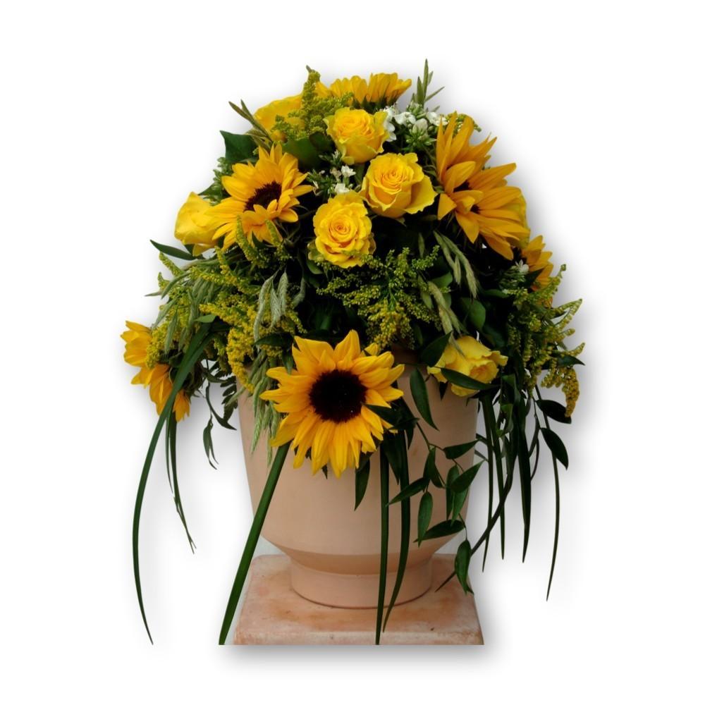 Urnenschmuck Sommer - Sonnenblumen gelb