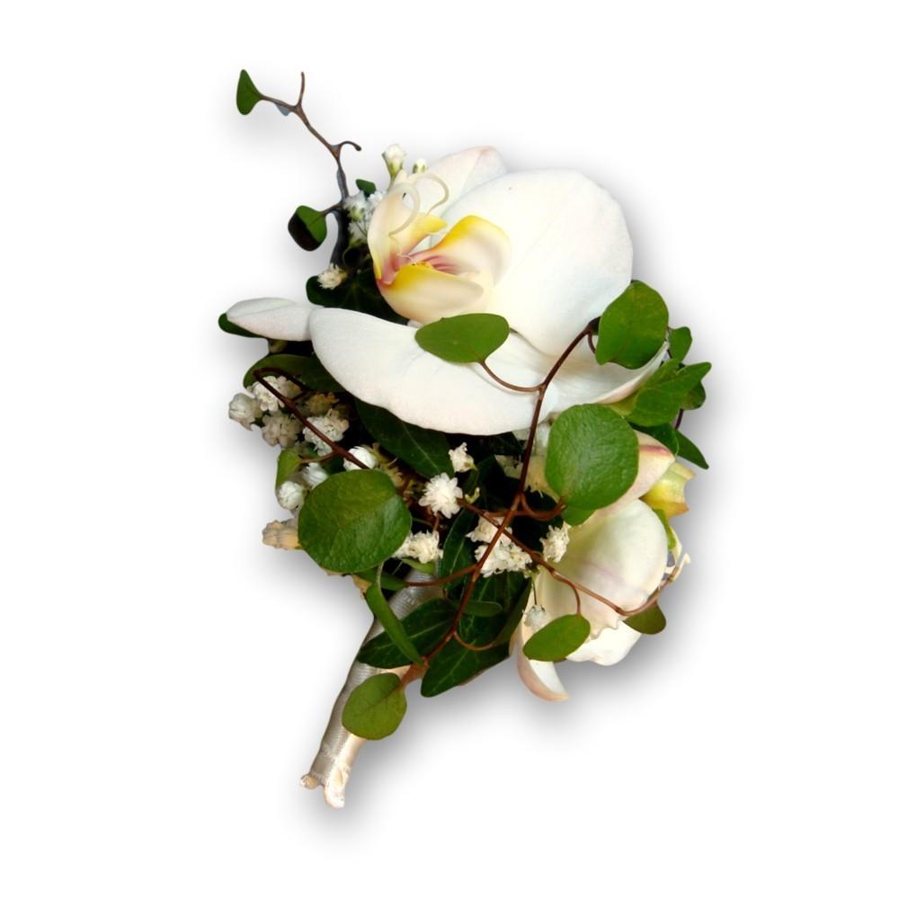 Anstecker Hochzeit Orchideen weiss