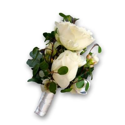 Anstecker Hochzeit Rose weiss