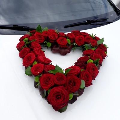 Autoschmuck Herz Rosen - rot