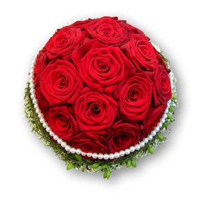 Brautstrauss rund mit rote Rosen