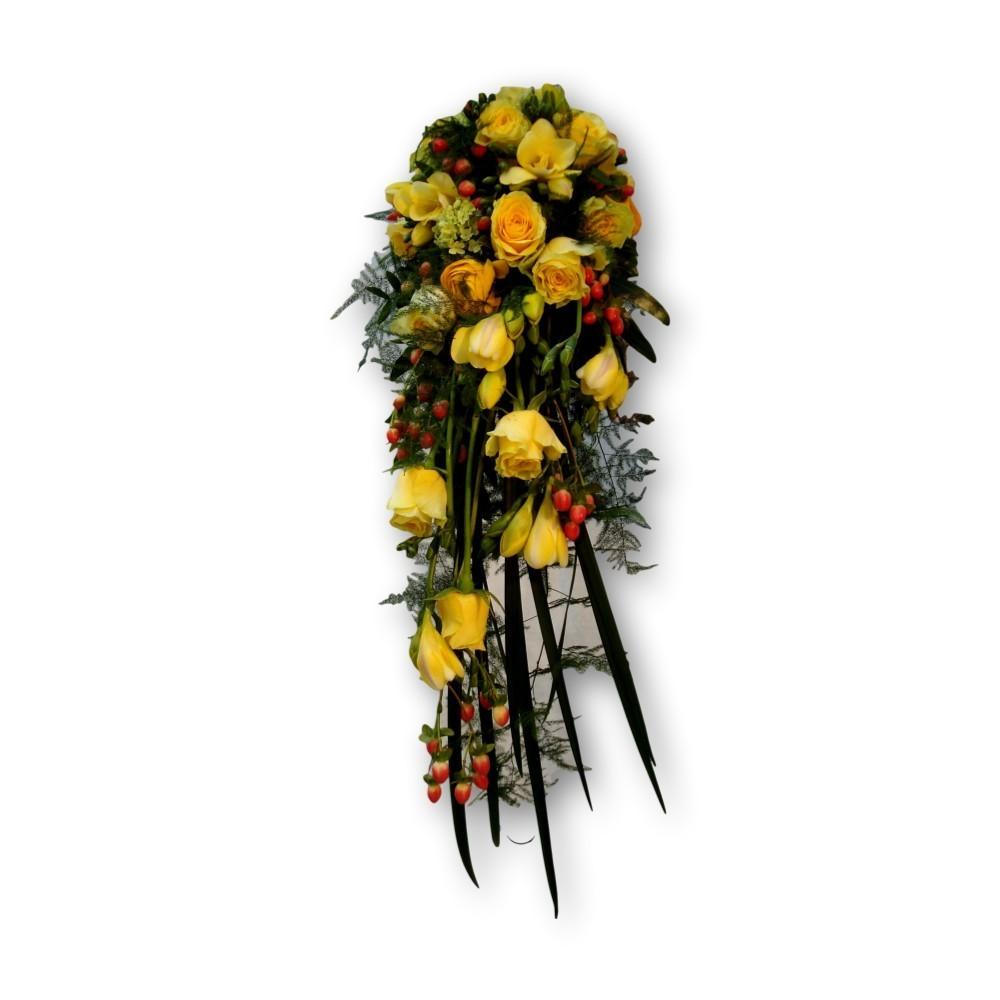 Brautstrauss Tropfenform - gelb