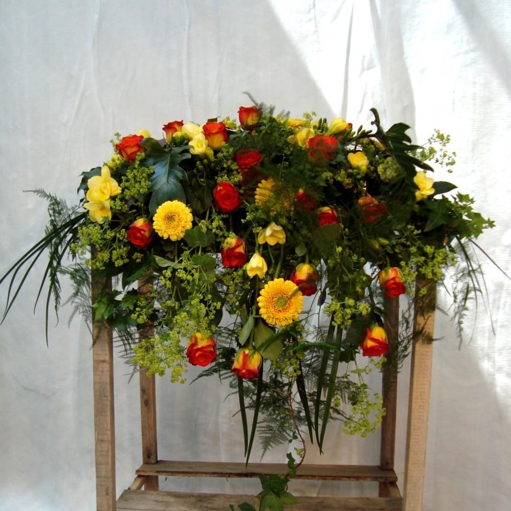 Kirchendeko Altargesteck - gelb/rot