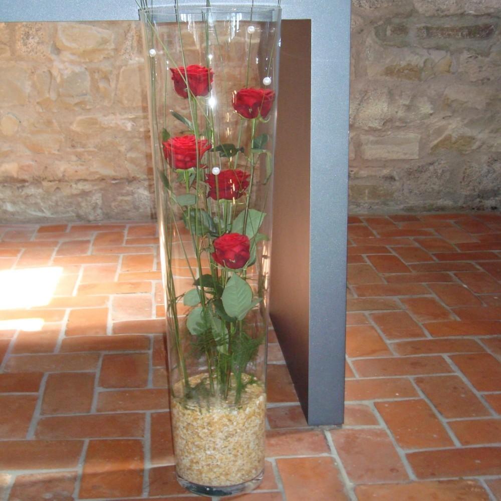 Kirchendeko Altargesteck Rosen im Glas