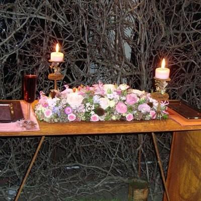 Tischdeko Hochzeit - rosa/grün