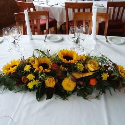 Tischdeko Sommerblumen länglich - gelb/orange