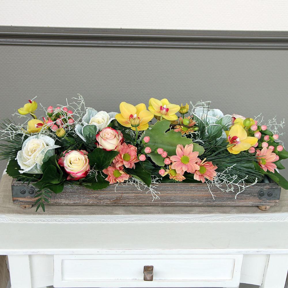 Tischdeko bunt - weiss/gelb/rosa