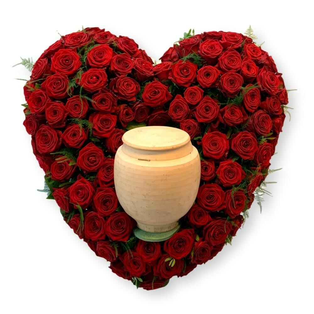 Urnenschmuck Herz mit rote Rosen