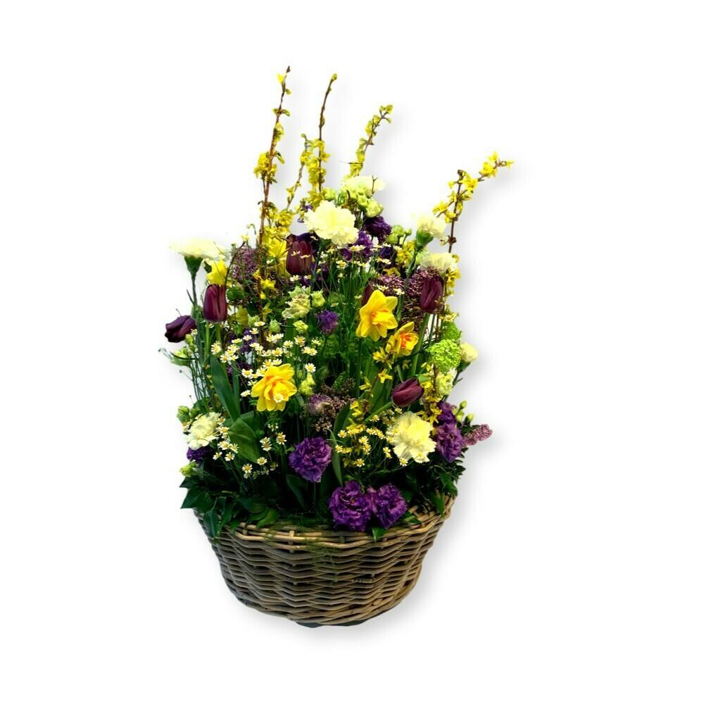 Korbgesteck Frühling gelb/violett