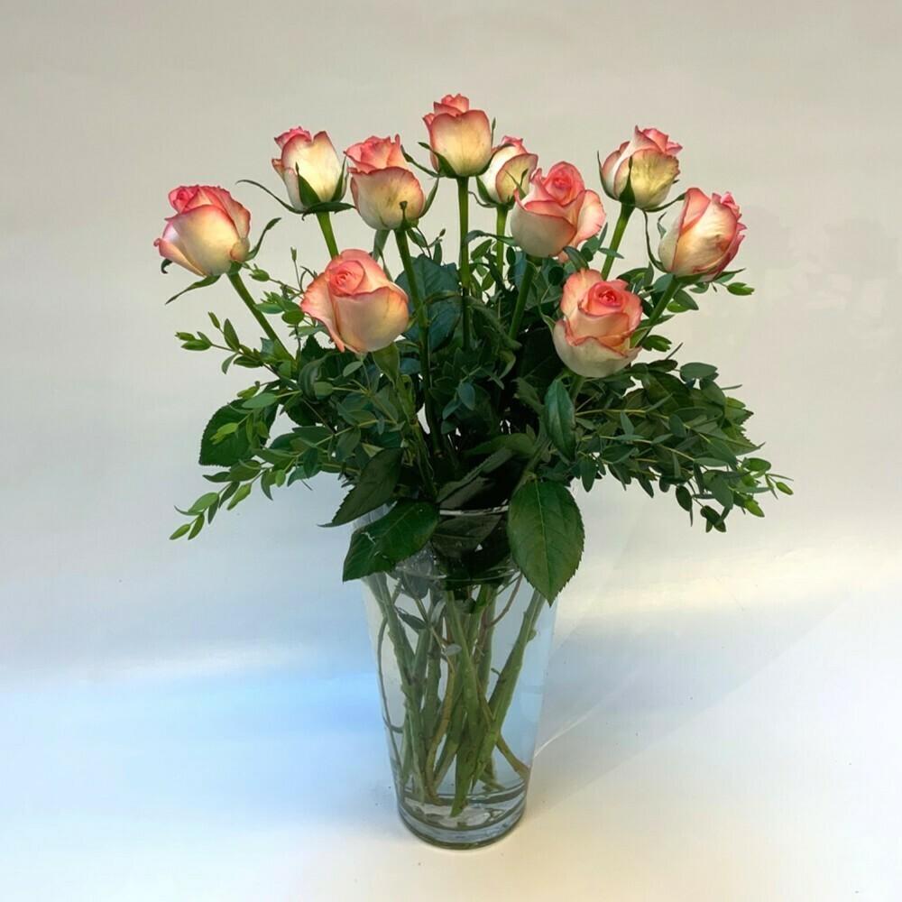 Rosen rosa/ weiss mit grün