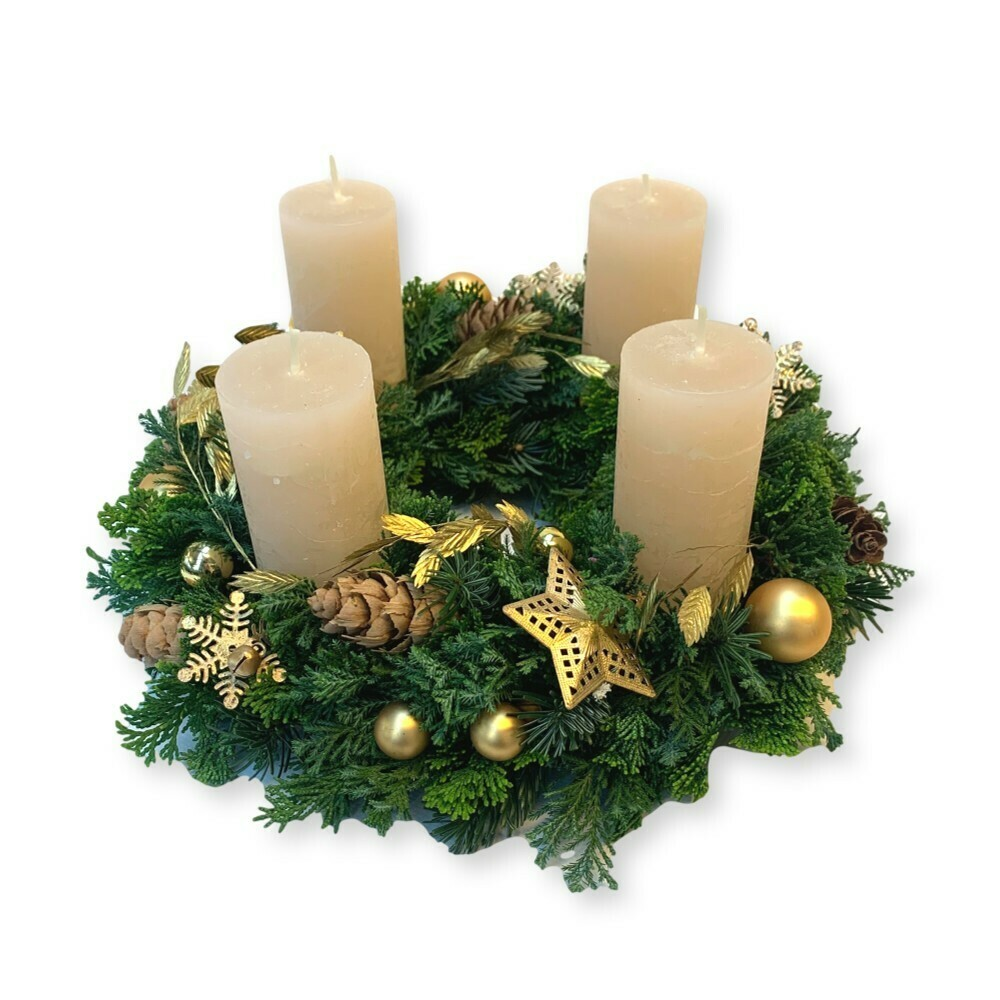 Adventskranz gold