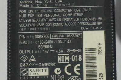 08K8207 - IBM ThinkPad T40 AC Adapter 3 Pin