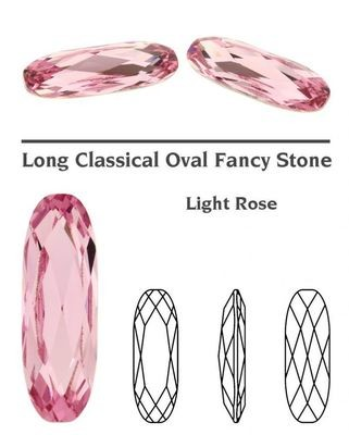 [SWAROVSKI] 4161 Long Classical Oval Fancy Stone (light rose) (2pcs) (15x5 mm)