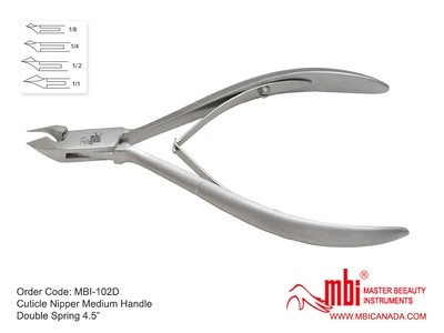 [MBI] 1/2 JAW 102S/102D Cuticle Nipper Medium Handle Double Spring (4.5″)