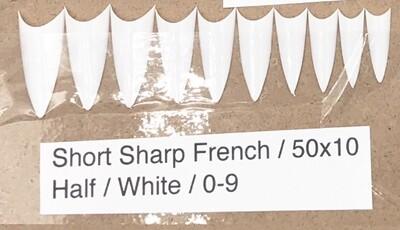 [generic] Short Sharp French Nail Tips Set (white)