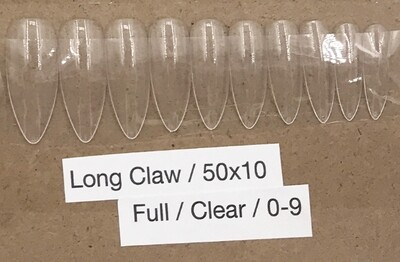 [generic] Long Claw Full Nail Tips Set (clear)