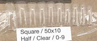 [generic] Square Half Nail Tips Set (clear)