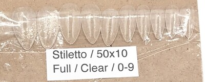 [generic] Stiletto Full Nail Tips Set (clear)