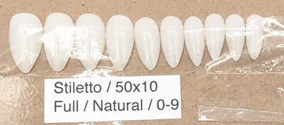 [generic] Stiletto Full Nail Tips Set (natural/clear)