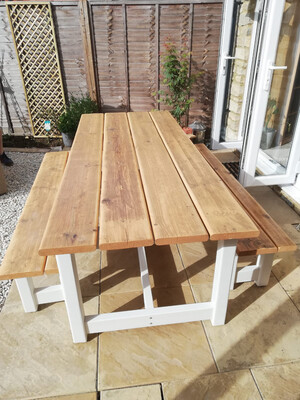 Rustic Patio Table & 2 Benches
