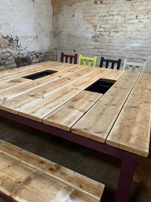 2m Square Prosecco Patio Table {2 Benches}