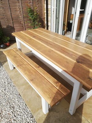Rustic Patio Table & 1 Bench