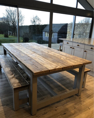 Rustic Refectory Table & 2 Benches